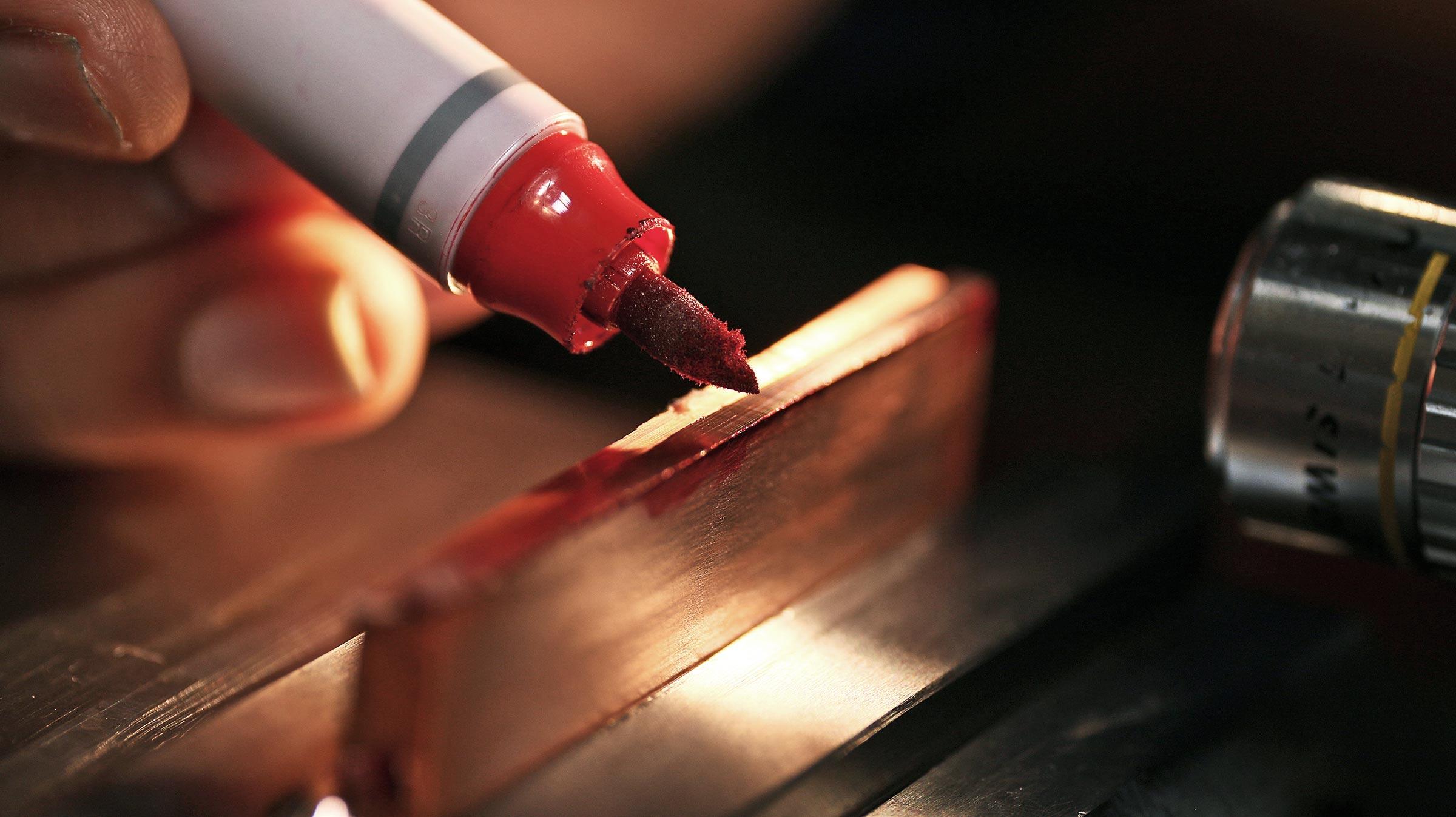 marker on metal