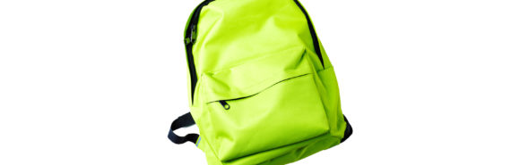 neon green backpack on white