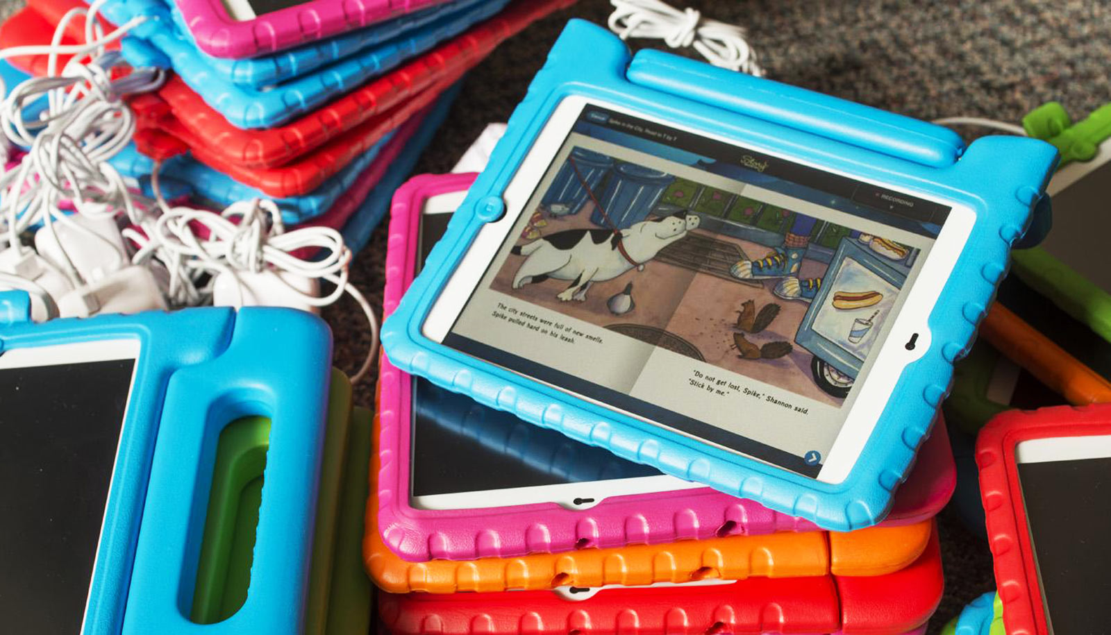 tablets with books on them - read to kids