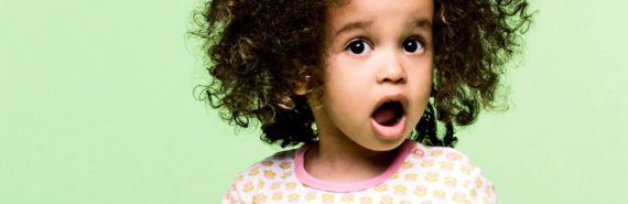 toddler girl with open mouth