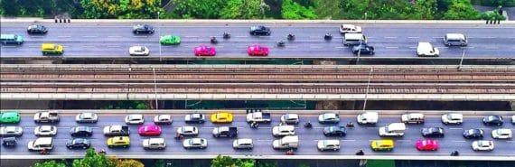 traffic jam aerial view