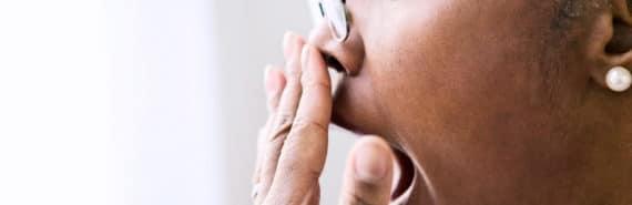 yawning in profile