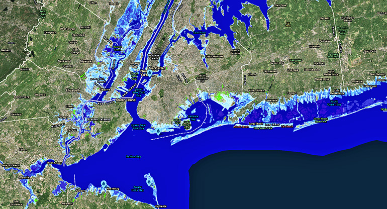 sea-level rise map