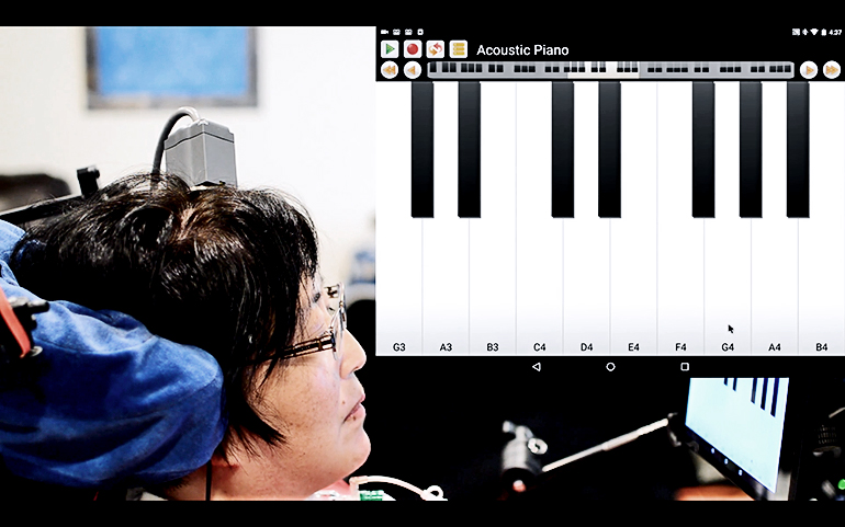 "A participant in the BrainGate clinical trial plays ""Ode to Joy"" on a virtual keyboard interface"