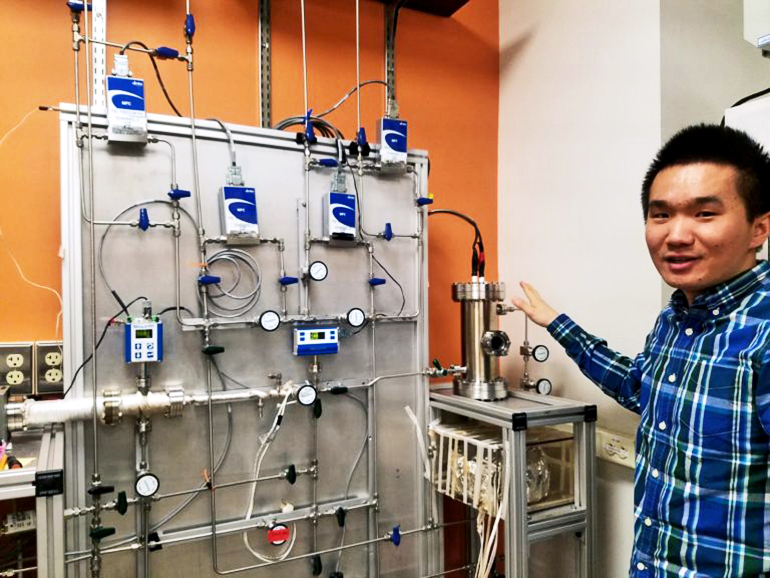 Chao He explaining how the study's PHAZER setup works.