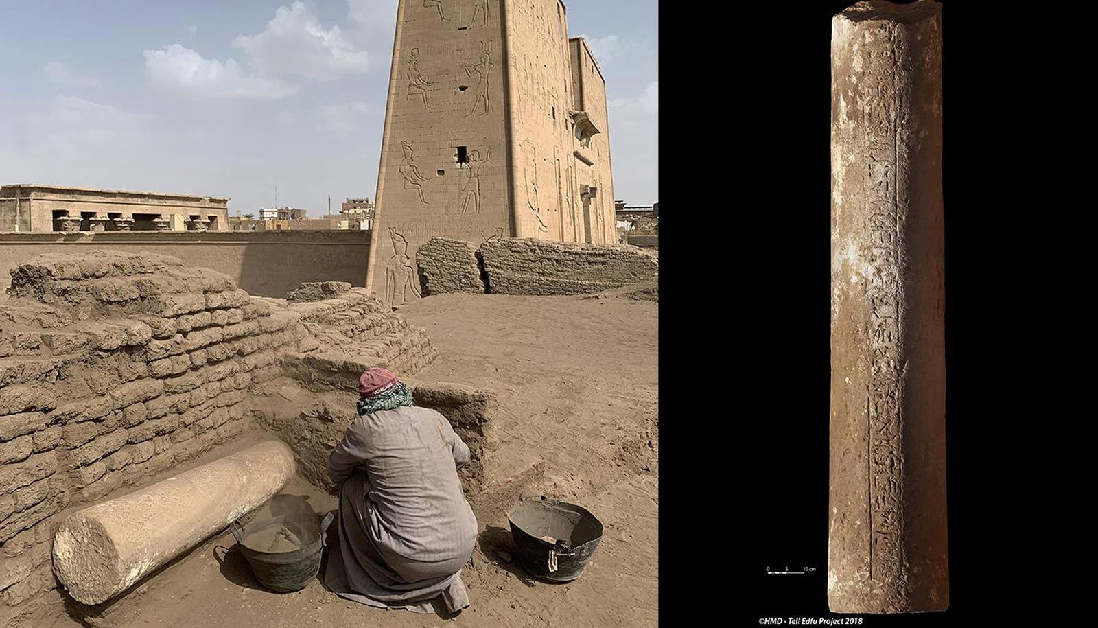 The column area under excavation (left) and the sandstone column inscribed with the name of the high priest of the temple of Horus, Amenmose (right).