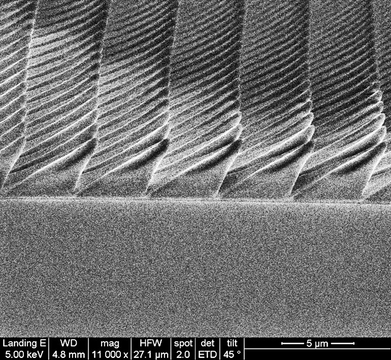 Scanning electron microscope image of the asymmetric pyramids that researchers 3D nanoprinted