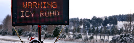 warning icy road sign (laser induced graphene concept)