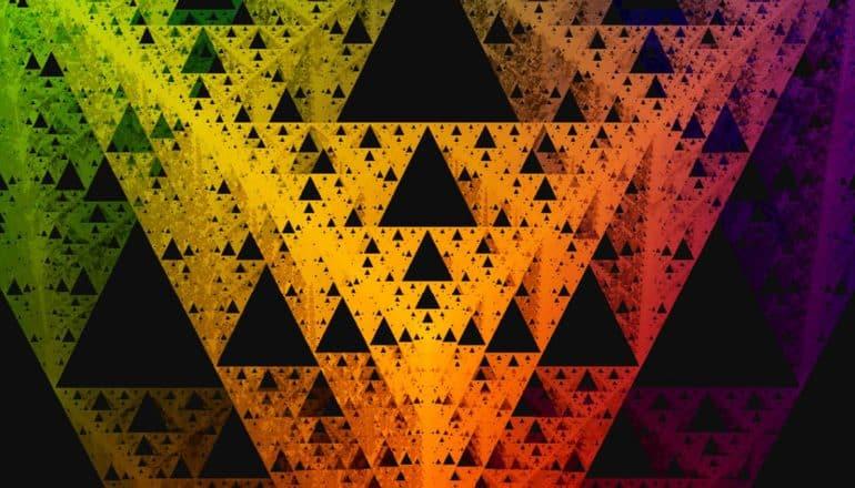 Sierpinski tetrahedron - fractal triangles in rainbow palette