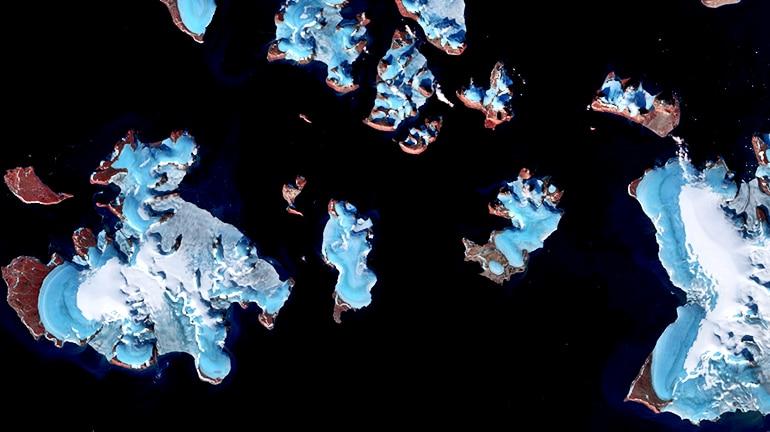 glaciers satellite view
