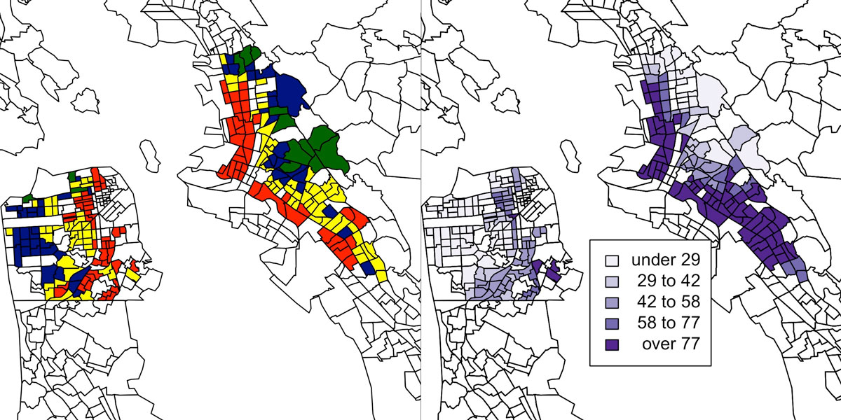side-by-side maps of redlined neighborhoods and ER trips for asthma