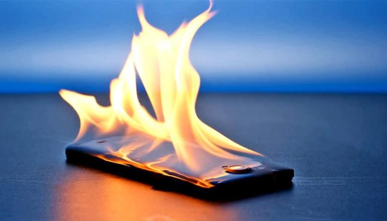 phone on fire (nanocomposite concept)