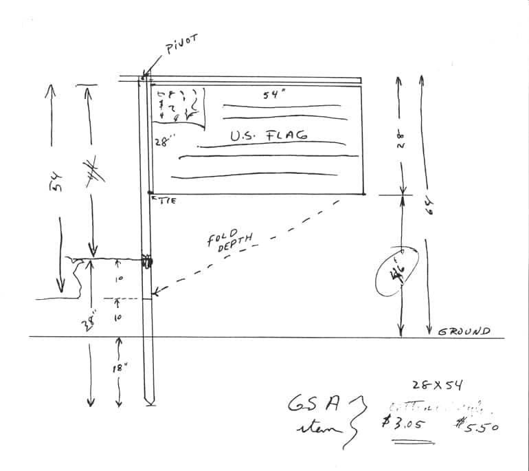 original sketch of the Lunar Flag Assembly