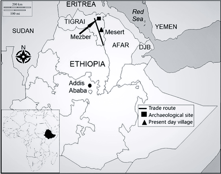 Map showing the Mezber site and the modern Mesert village, in northern Ethiopia
