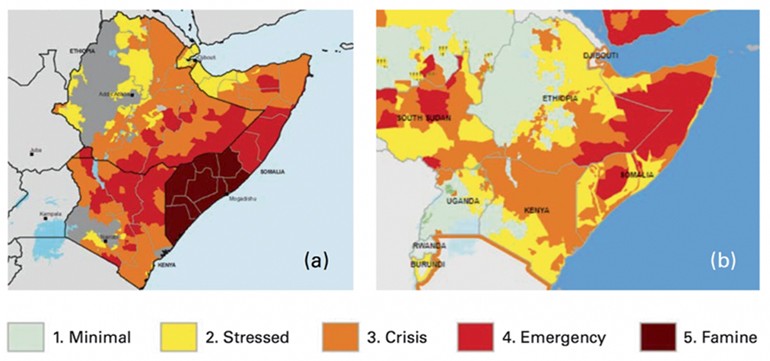 two maps show more intense drought outcome in East Africa in 2016 v. 2017
