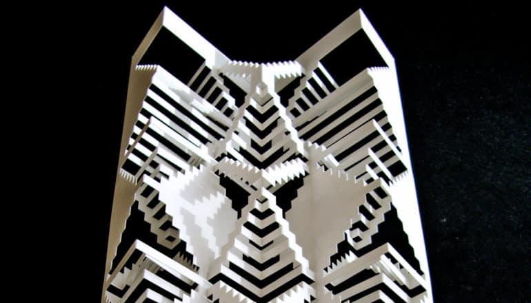 white kirigami on black