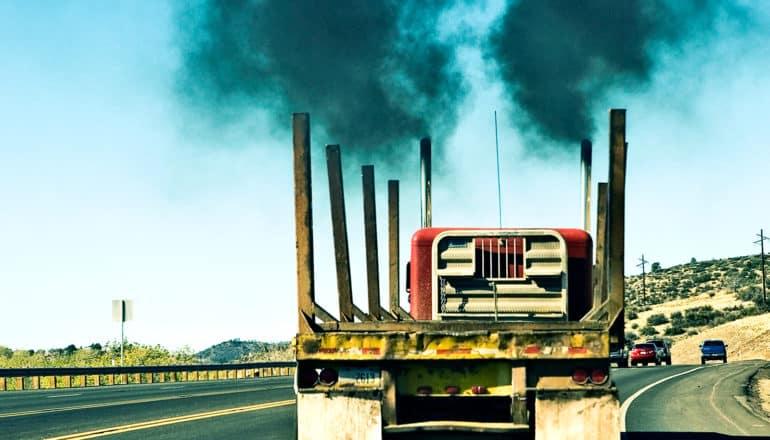 truck exhaust on highway (methanol concept)