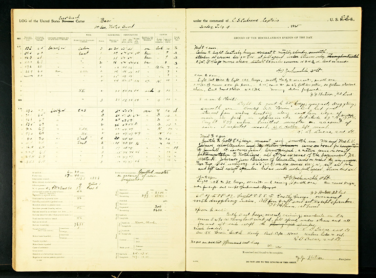 The yellowed pages of the ship's logbook are filled with handwritten text