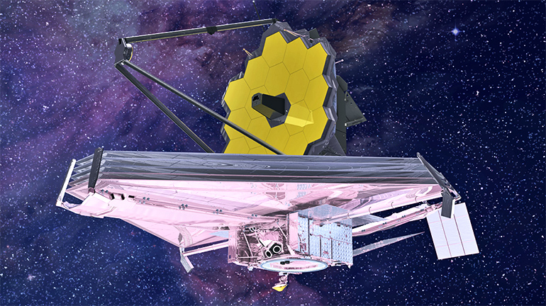 A honeycomb-looking made of hexagonal panels sits on top of a triangular platform as the satellite floats in space