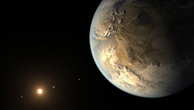 small yellow star at lower left and large Earth-like planet at right