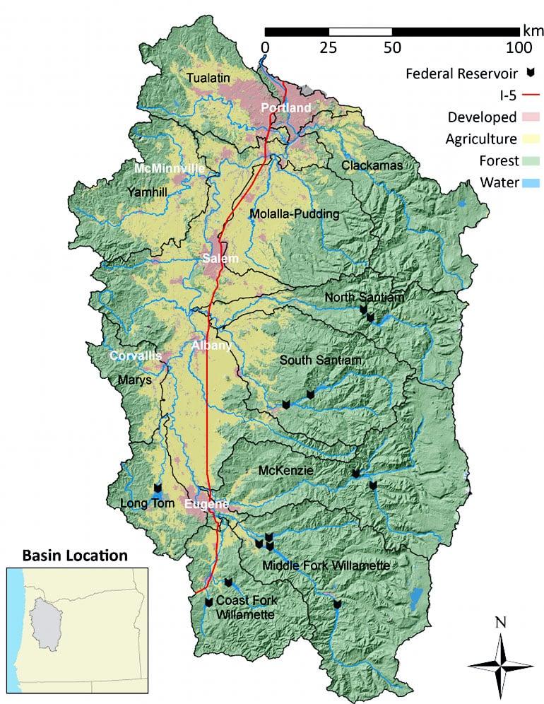 Willamette River Basin map