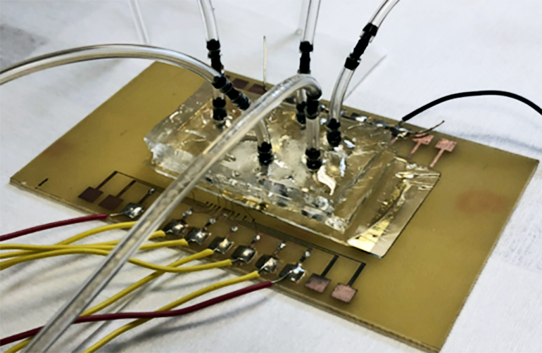 The image shows the biosensor with wires and tubes coming out of it.