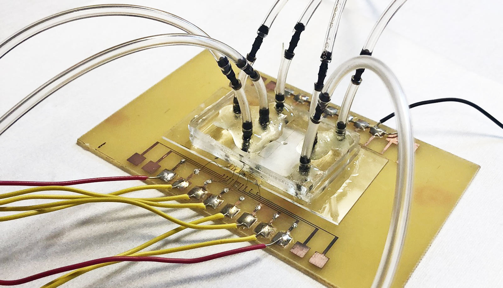 yellow-ish rectangle with a row of wires emerging from one side and clear tubes coming out from the top