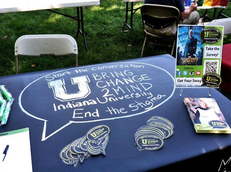 The image shows a U Bring Change to Mind information and recruitment table at IU's Involvement Fair in September 201