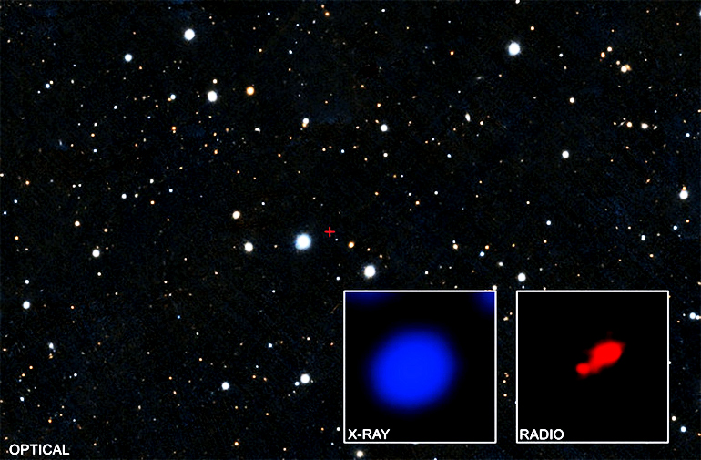 The image shows a field of stars that contain the quasar PSO167-13 and two insets. The left inset contains X-rays researchers detected with Chandra from this region, with PSO167-13 in the middle. The right inset shows the same field of view as seen by the Atacama Large Millimeter Array (ALMA) of radio dishes in Chile. The bright source is the quasar, and a faint, nearby companion galaxy appears in the lower left.