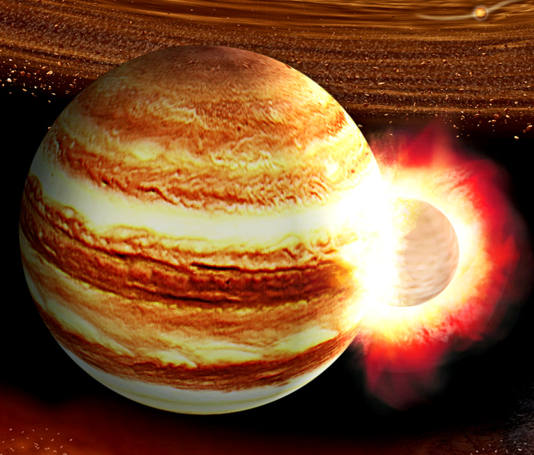 The image shows an illustration of a massive collision between Jupiter and a protoplanet.