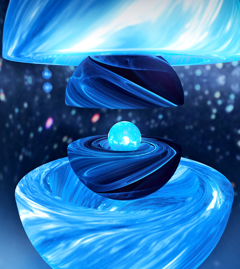 An artist's illustration shows the three neutron star components revealed during the 2016 Vela glitch.