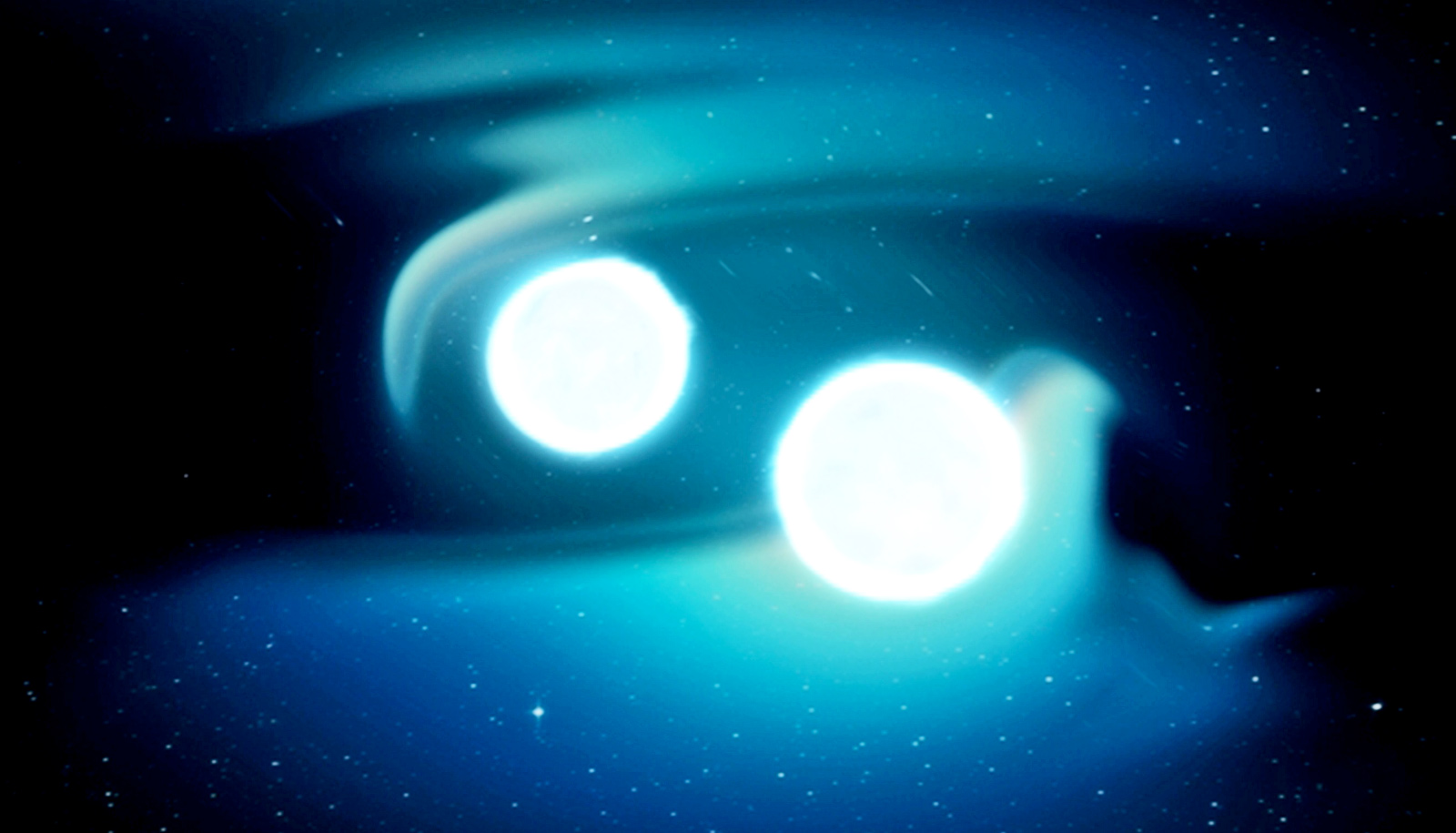 Two orbs of light orbit each other with swirls of blue around them