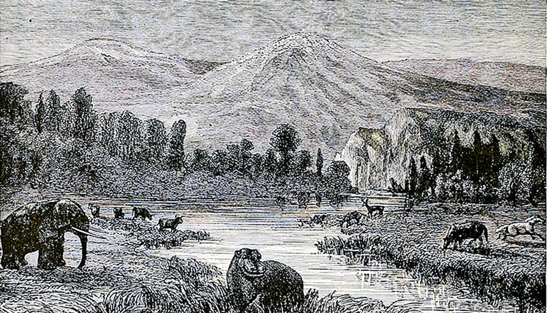 A wood engraving by Eduard Riou depicts a landscape view of the Pliocene, showing a mountain, river, and animals.