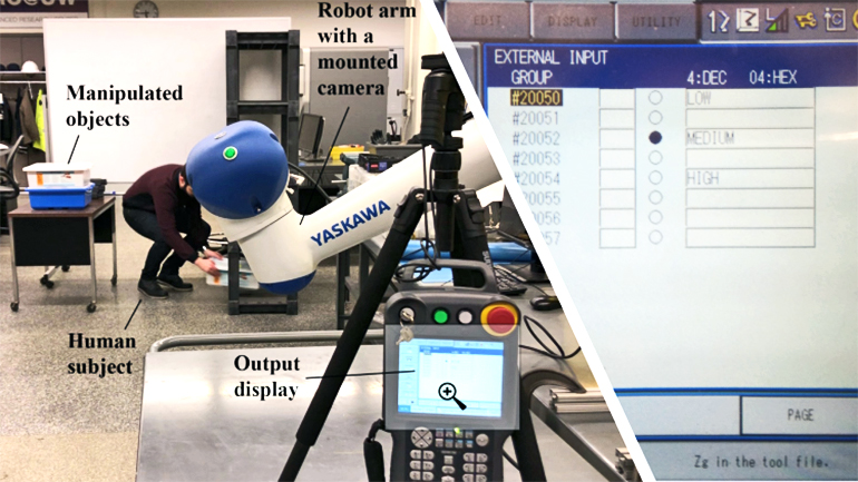 A human subject bends down to pick up boxes while a robot arm with a camera watches them and sends video to a display. On the right, a screenshot of software shows the score the algorithm gave the subject's movement.
