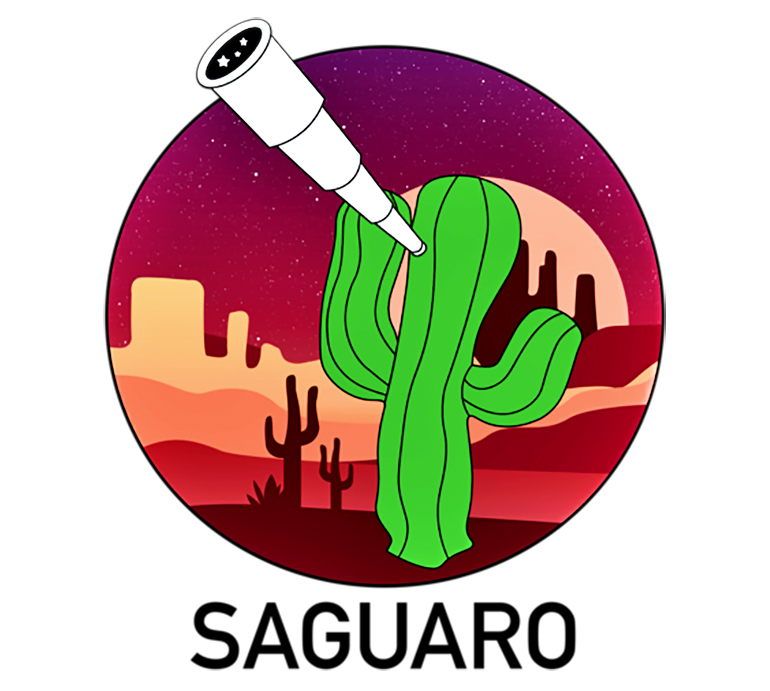 A cartoon cactus looks up at the sky with a telescope with a desert landscape in the background