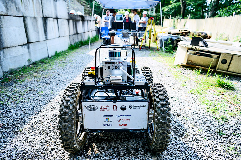 The image shows the robot outside the test mine in Pennsylvania.