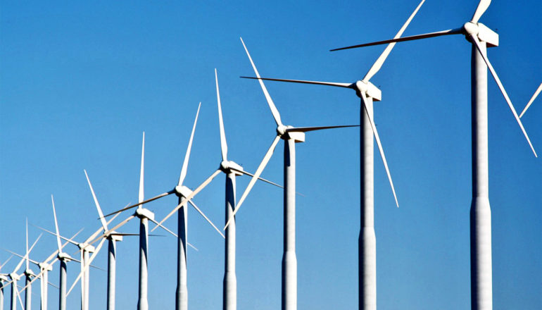 diagonal row of wind turbines (energy storage concept)