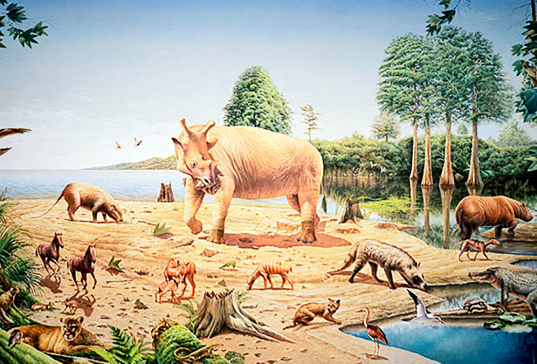 Illustrated animals big and small roam around a coastal area, with a large horned animal at the center of the group