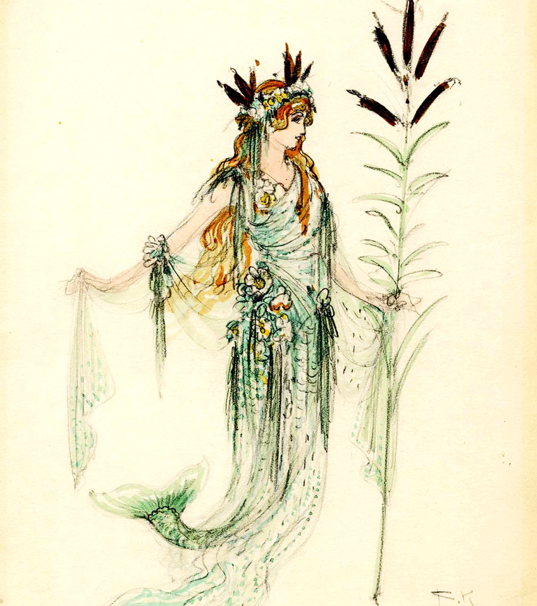 A drawing of a costume design for a mermaids from Wagners Das Rheingold showing her in flowing green (that looks like seaweed), bright red hair, and a long, leafy staff