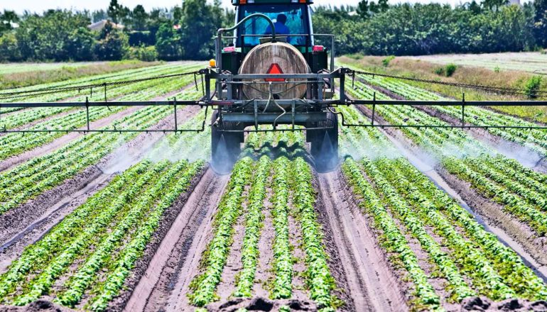A tractor with a tank of pesticide sprays green rows in a field