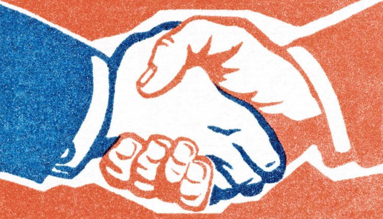 An illustration of shaking hands, one red and one blue, with a red-orange background