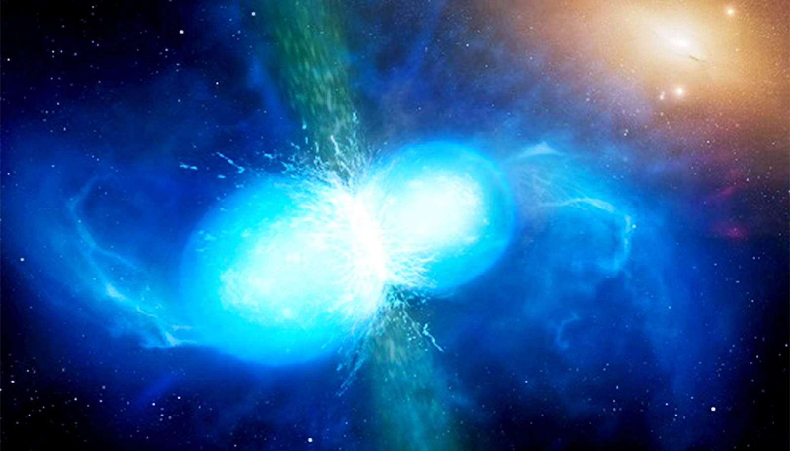 Two blue-looking stars smash into each other in space