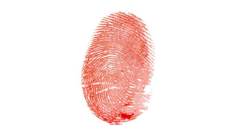 fingerprint looks like blood