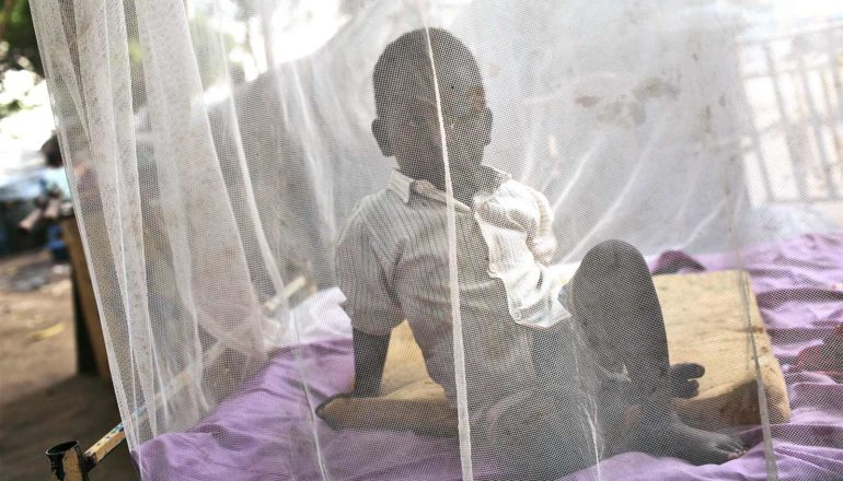 A young boy sits under a white malaria bed net