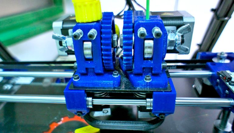 blue 3D printer in lab