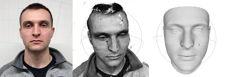 A man poses for a face-on shot. In the second image, a computer has made a rough 3D model of his face. In the third shot, the 3D face model is smoothed out and texture-less