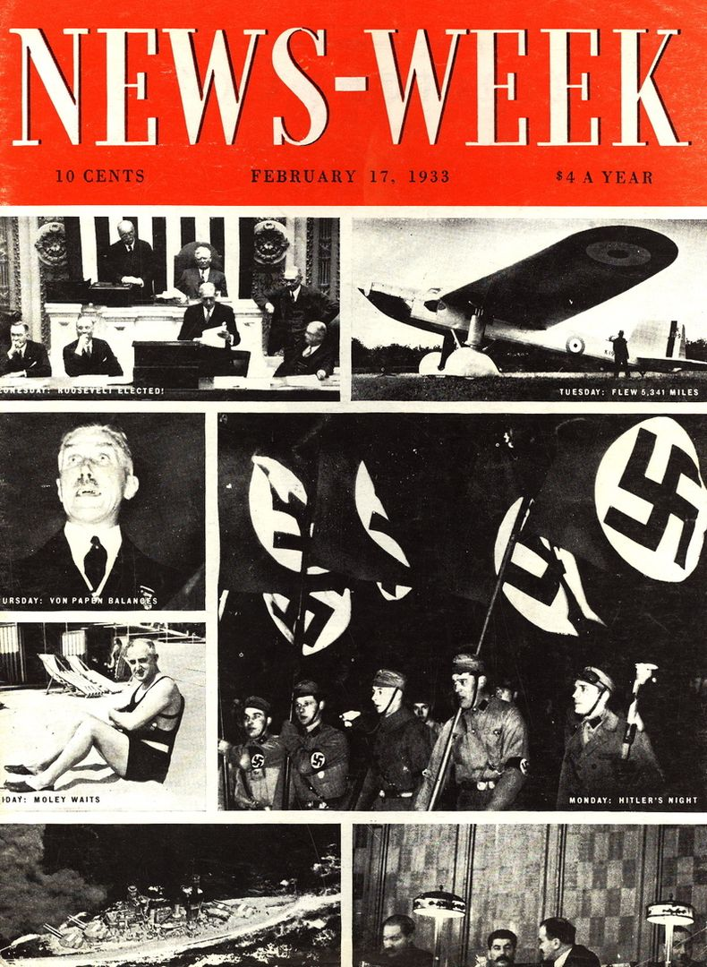 Adolf Hitler, Franklin Roosevelt, Joseph Stalin, Franz von Papen on cover of News-Week magazine