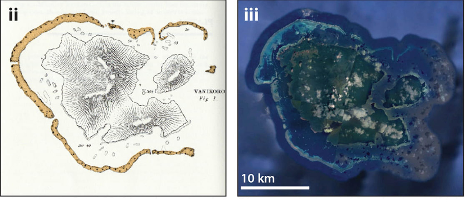 atoll map; satellite view