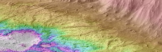 The crater on Mars is colored to show where water gathered at its bottom