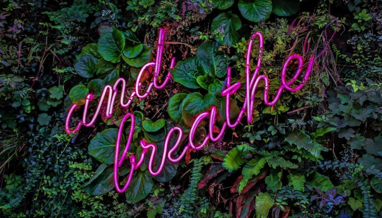 """neon letters say """"and breathe"""""""